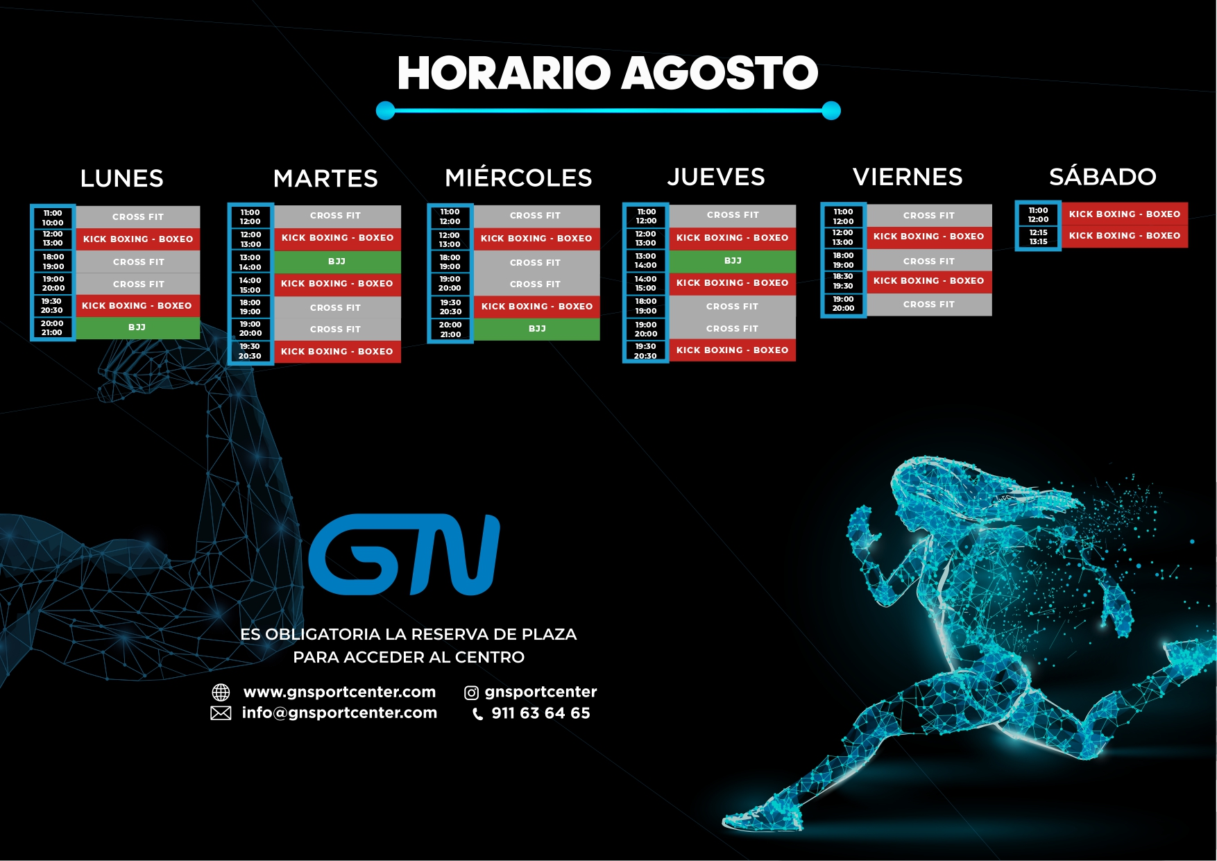 HORARIO GN SPORT CENTER